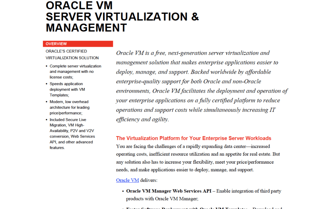 Oracle VM Server Virtualization & Management